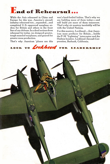 Lockheed P-38 Lighting End Of Rehearsal 1940s | Vintage War Propaganda Posters 1891-1970