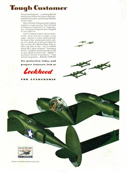 Lockheed P-38 Lighting Tough Customer 1940s | Vintage War Propaganda Posters 1891-1970