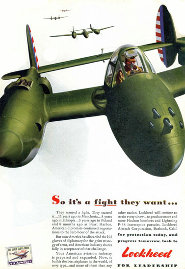Lockheed P-38 So Its A Fight They Want 1942 | Vintage War Propaganda Posters 1891-1970