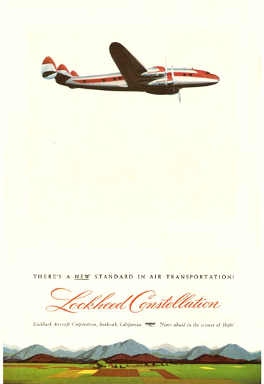 Lockheed Super Constellation 1945 New Standard   Vintage Travel Posters 1891-1970