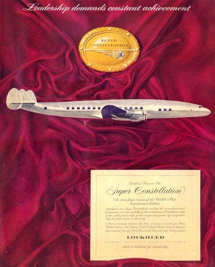 Lockheed Super Constellation 1951 | Vintage Travel Posters 1891-1970
