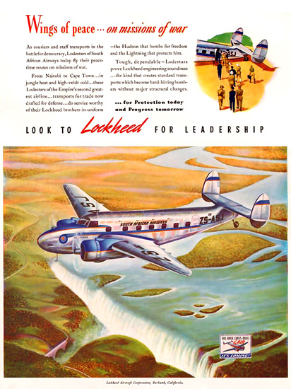 Lockheed Wings Of Peace On War Mission 1941   Vintage War Propaganda Posters 1891-1970