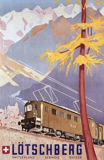 Loetschberg BLS Schweiz Suisse Alps Switzerland 1949   Vintage Travel Posters 1891-1970