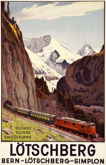 Loetschberg Bern Simplon Schweiz Suisse 1937 | Vintage Travel Posters 1891-1970