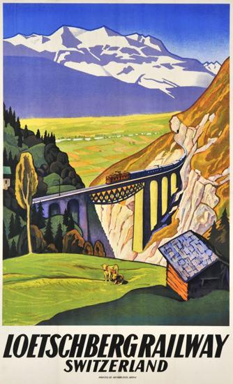 Loetschberg Railway Switzerland 1931 Swiss Alps | Vintage Travel Posters 1891-1970