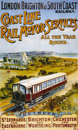 London Brighton Cost Line Rail Motor Services | Vintage Travel Posters 1891-1970