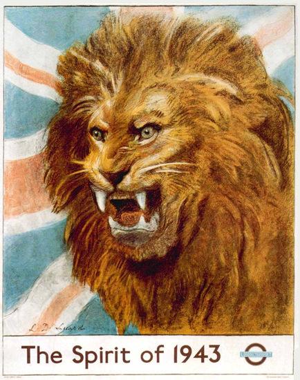 London Underground Lion The Spirit Of 1943   Vintage Travel Posters 1891-1970