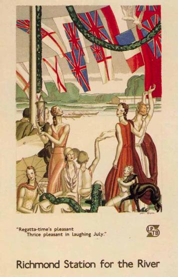 London Underground Richmond Station Regatta   Vintage Travel Posters 1891-1970