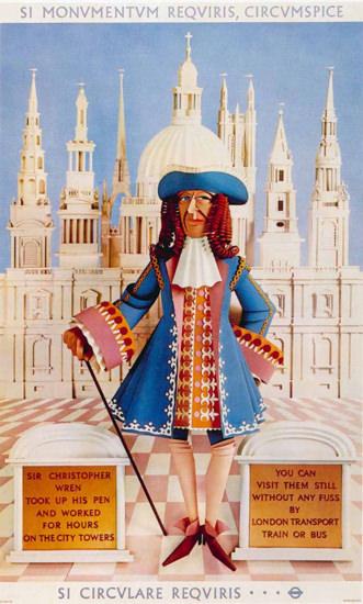 London Underground Sir Christopher Wren | Vintage Travel Posters 1891-1970