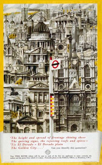London Underground The Golden City | Vintage Travel Posters 1891-1970