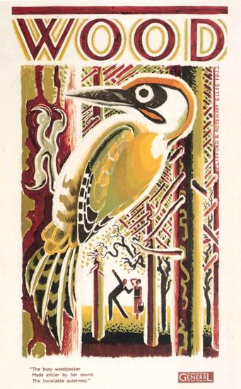 London Underground Wood Woodpecker   Vintage Travel Posters 1891-1970