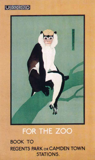 London Underground Zoo Capuchin Monkey   Vintage Travel Posters 1891-1970