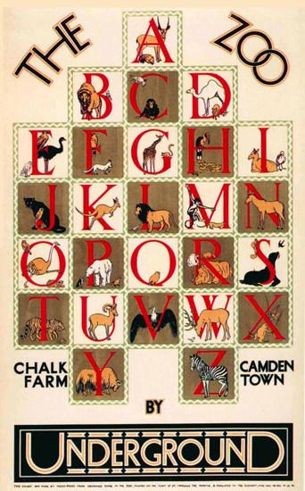 London Underground Zoo Chalk Farm Camden | Vintage Travel Posters 1891-1970