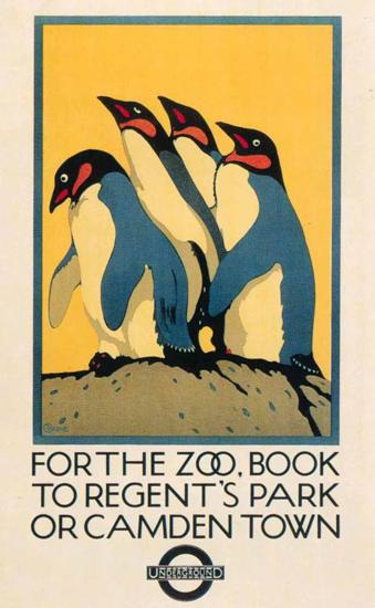 London Underground Zoo Penguins Regents Park | Vintage Travel Posters 1891-1970