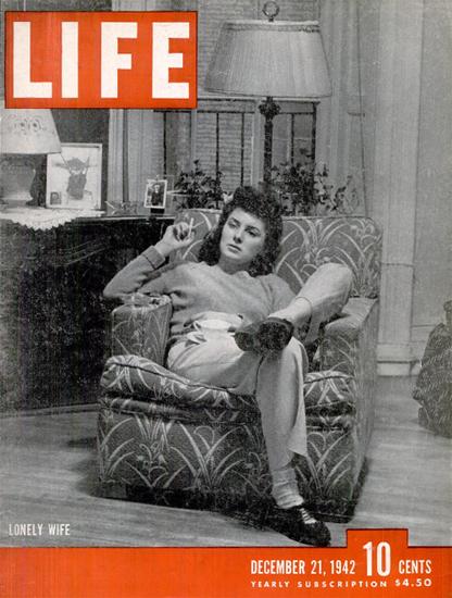Lonely Wife 21 Dec 1942 Copyright Life Magazine | Life Magazine BW Photo Covers 1936-1970
