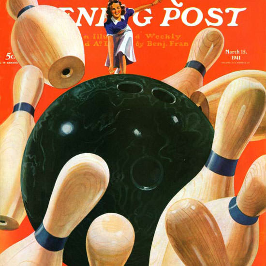 Lonie Bee Saturday Evening Post Bowling 1941_03_15 Copyright crop | Best of Vintage Cover Art 1900-1970