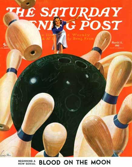 Lonie Bee Saturday Evening Post Bowling Strike 1941_03_15 | The Saturday Evening Post Graphic Art Covers 1931-1969