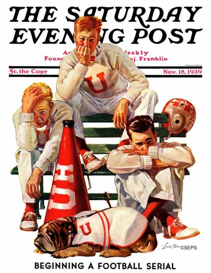 Lonie Bee Saturday Evening Post Cheerleaders Lost Game 1939_11_18 | The Saturday Evening Post Graphic Art Covers 1931-1969