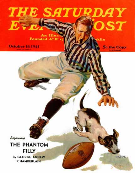 Lonie Bee Saturday Evening Post Dog on the Field 1941_10_18 | The Saturday Evening Post Graphic Art Covers 1931-1969