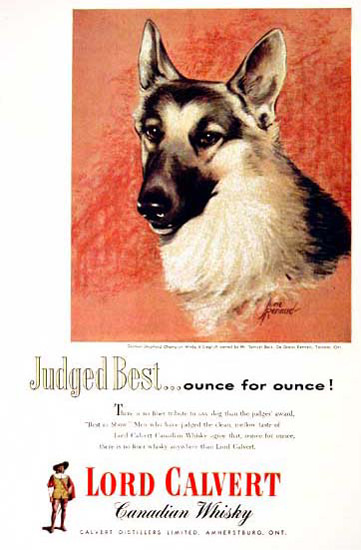 Lord Calvert Canadian Whisky 1955 Shepherd | Vintage Ad and Cover Art 1891-1970