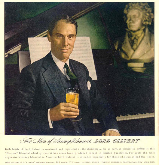Lord Calvert Pianist 1944 | Sex Appeal Vintage Ads and Covers 1891-1970