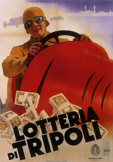 Lotteria Di Tripoli Italy Italia Racing Car | Vintage Ad and Cover Art 1891-1970