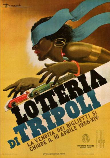 Lotteria Di Tripolo 1936 Italy Italia Black Woman | Sex Appeal Vintage Ads and Covers 1891-1970