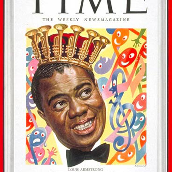 Louis Armstrong Time Magazine 1949-02 by Boris Artzybasheff crop | Best of Vintage Cover Art 1900-1970