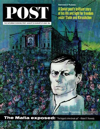 Louis Glanzman Saturday Evening Post Yevgeny Yevtushenko 1963_08_17 | The Saturday Evening Post Graphic Art Covers 1931-1969