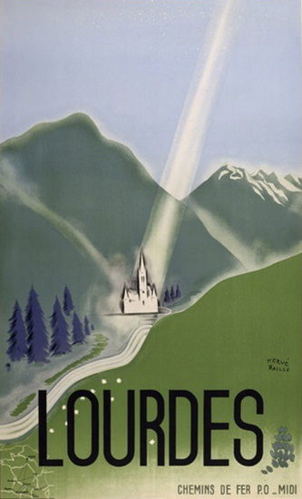 Lourdes France Place Of Miracle Bernadette | Vintage Travel Posters 1891-1970