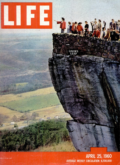 Lovers Leap Rock City Tennessee 25 Apr 1960 Copyright Life Magazine | Life Magazine Color Photo Covers 1937-1970