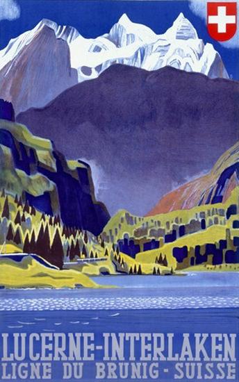 Lucerne Interlaken Ligne Du Brunig Suisse Alps | Vintage Travel Posters 1891-1970