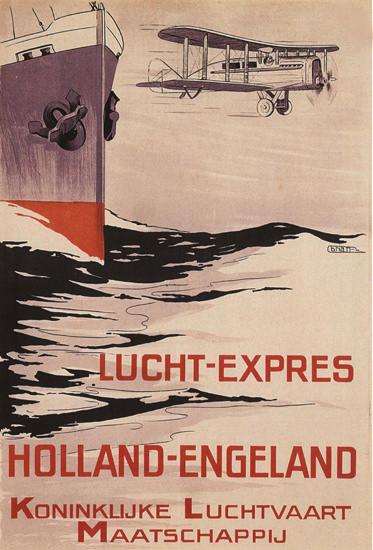Lucht-Expres Holland-Engeland Maatschappij | Vintage Travel Posters 1891-1970