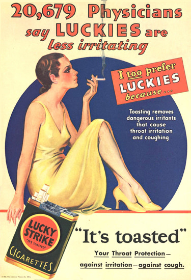 Lucky Strike 20679 Physicians Say 1930 Y Girl | Sex Appeal Vintage Ads and Covers 1891-1970