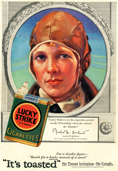 Lucky Strike Amelia M Earhart Atlantic Pilot 1928 | Vintage Ad and Cover Art 1891-1970