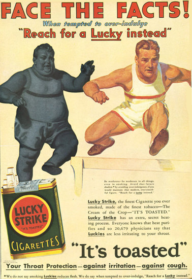 Lucky Strike Athlete Fact The Facts Cigarettes | Vintage Ad and Cover Art 1891-1970
