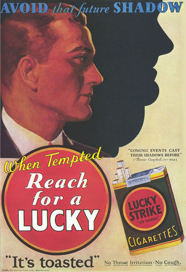 Lucky Strike Avoid That Future Shadow | Vintage Ad and Cover Art 1891-1970