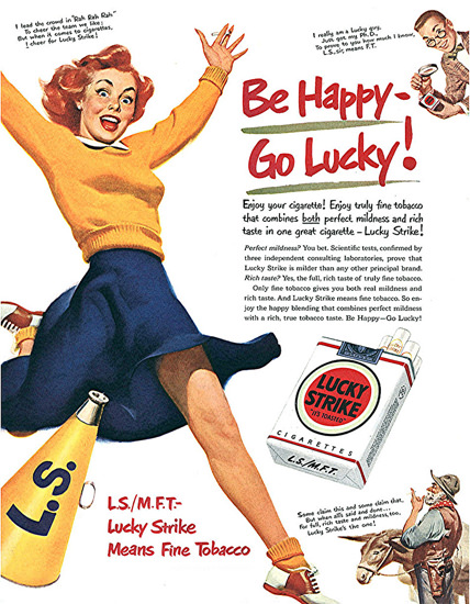 Lucky Strike Be Happy Go Lucky Sport 1950 | Sex Appeal Vintage Ads and Covers 1891-1970