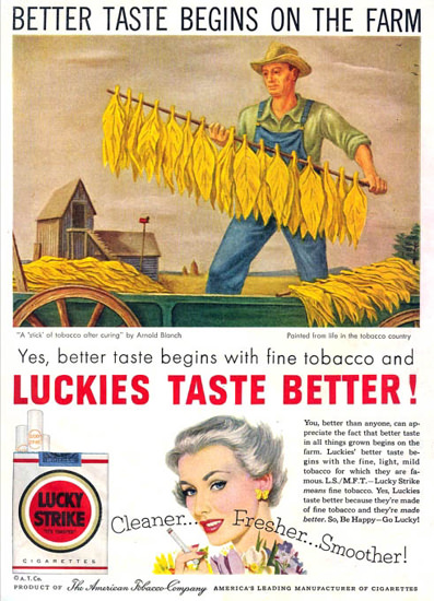 Lucky Strike Bettertaste Begins On Farm 1953 | Vintage Ad and Cover Art 1891-1970