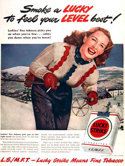 Lucky Strike Cigarettes 1953 Skier | Vintage Ad and Cover Art 1891-1970