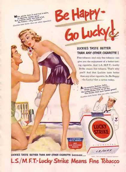 Lucky Strike Cigarettes Beach Girl | Sex Appeal Vintage Ads and Covers 1891-1970