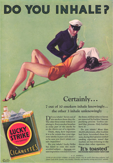 Lucky Strike Cigarettes Do You Inhale Certainly | Sex Appeal Vintage Ads and Covers 1891-1970