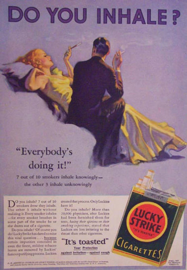 Lucky Strike Cigarettes Do You Inhale Cigarettes | Sex Appeal Vintage Ads and Covers 1891-1970