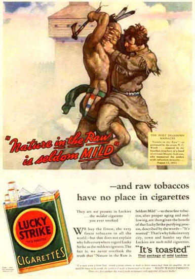 Lucky Strike Cigarettes Fort Dearborn Massacre | Vintage Ad and Cover Art 1891-1970
