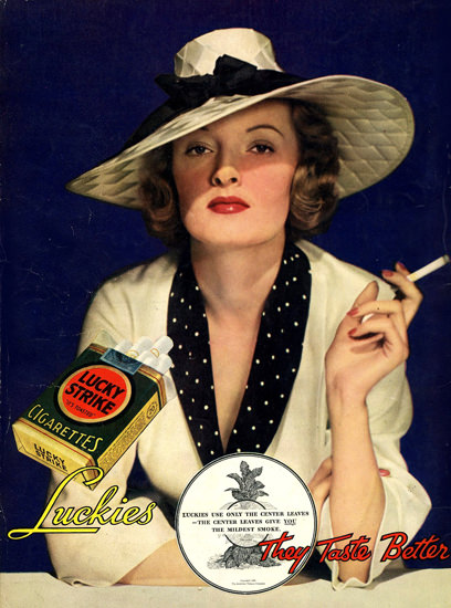 Lucky Strike Cigarettes Lady 1935 | Sex Appeal Vintage Ads and Covers 1891-1970