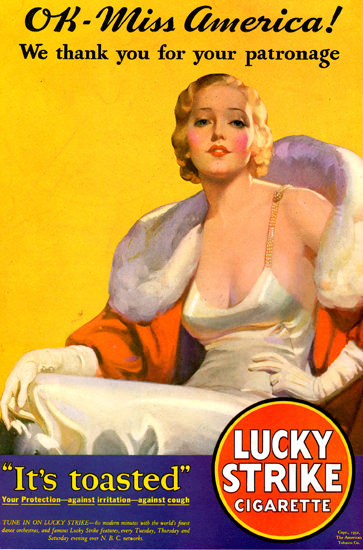 Lucky Strike Cigarettes OK Miss America 1932 by McClelland Barclay | Sex Appeal Vintage Ads and Covers 1891-1970