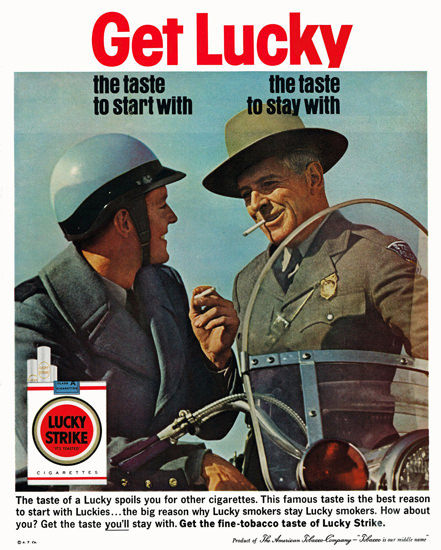 Lucky Strike Cigarettes Police Officer Cigarettes | Vintage Ad and Cover Art 1891-1970