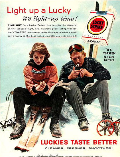 Lucky Strike Cigarettes Skiing | Vintage Ad and Cover Art 1891-1970