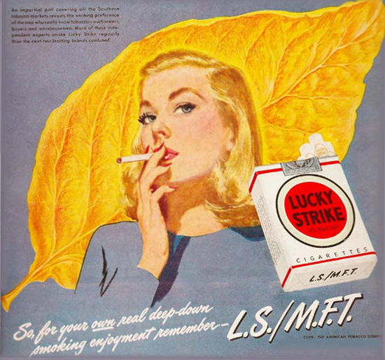 Lucky Strike Cigarettes Tabacco Leaf Girl | Vintage Ad and Cover Art 1891-1970