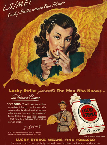 Lucky Strike Cigarettes The Man Who Knows | Vintage Ad and Cover Art 1891-1970
